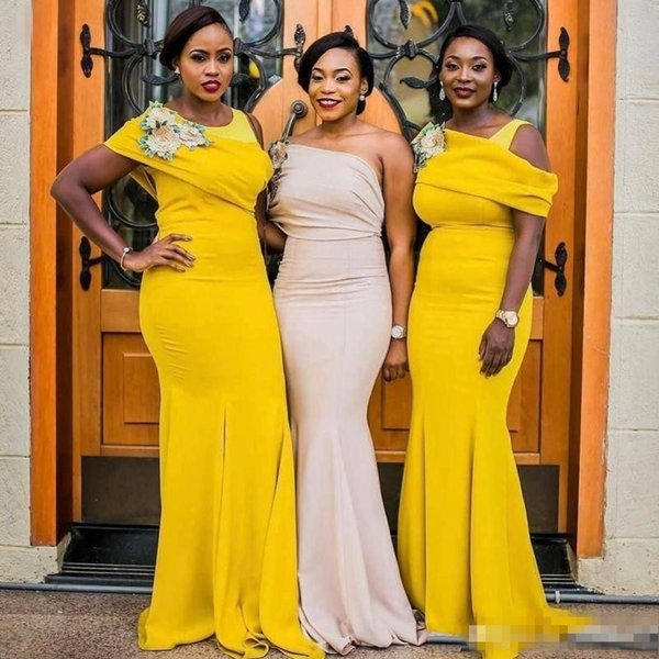 2018 Yellow One Shoulder bridemaids dresses For Wedding South African Plus Size Mermaid Maid Of Honor Gowns Floor Length bridesmaids dresses