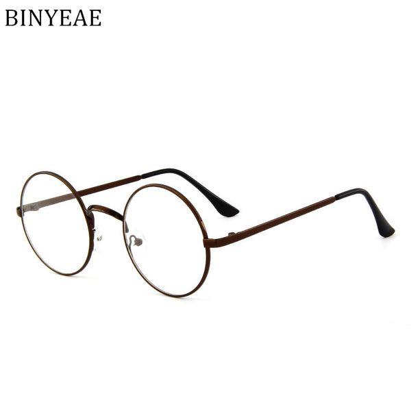 BINYEAE металл мужчины очки рамки круглый рецепт декоративные оптический компьютер чтения ясно близорукость прозрачные очки рамка