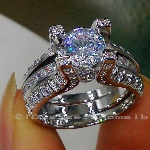 Sz 5/6/7/8/9/10 Wholesale Free shipping Retro 10kt white gold filled GF white topaz Gem Simulated Diamond Engagement Wedding Ring set gift