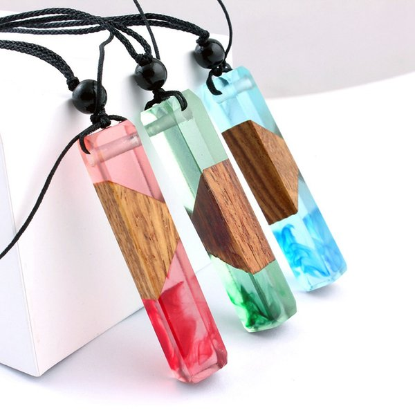 Wood Resin Pendant Necklace Novelty Personalized Wooden Statement Sweater Necklace Creative Wedding Birthday Gift For Men Women