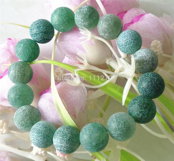 12 mm verde cornalina dragón venas Frost Onyx perlas pulsera mujeres joyería de piedra natural 7.5 pulgadas venta al por mayor nuevo estilo Diy