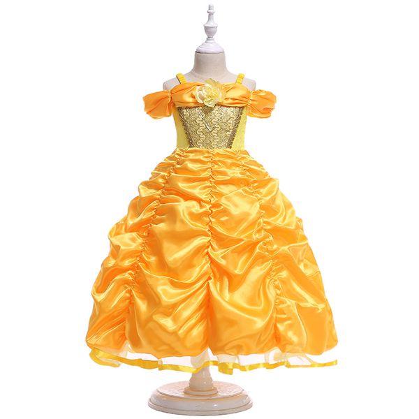 Brand New Flower Ruffle Dresses Girls Bridesmaid Elegant Dresses Princess Girls Pageant Prom Gown First Communion Dress