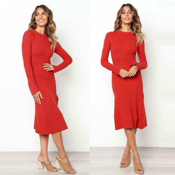 Elegant Ribbed Red Midi Dress Women 2018 Autumn Winter O Neck Long Sleeve Knitting Bandage Dress Vintage Party Long Vestidos