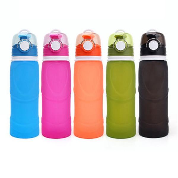 Bewegliches faltbares Silikongetränk des wasser-750ML kreative Sport-Wasser-Flaschen-Camping-Reise meine Plastikfahrradflasche
