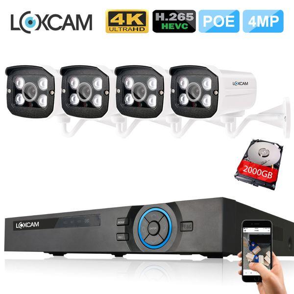 H. 265 в 4K и 5-Мп камеры видеонаблюдения система 4-канальный PoE NVR комплект 4шт 4Мп открытый IP66 IP-безопасности камера P2P поддержка ONVIF HD видеонаблюдение комплект 48В
