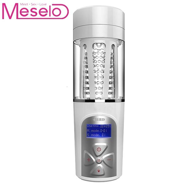 Meselo Male Masturbator Intelligent Voice Multiple Vibration Real Vagina Suck Masturbation Cup USB Charge Adult Sex Toys For Men Y1892903