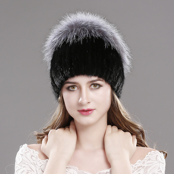 Luxury Silver Fox Hair Handicraft Winter Hats for Women Warm Real Fur Knit Cap New Fashion Design Winter Hat Fox Fur