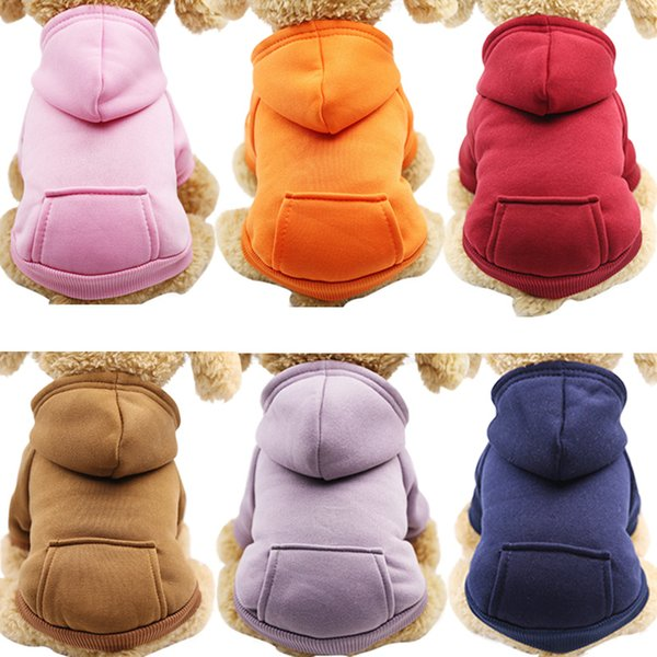 6 Color Solid Pet Clothe for Dog Coat Jackets Cotton Hoodies Dog Clothes Puppy Fleece Overall for Dogs Cat Clothing Pets Outfit 25 XS~XXL