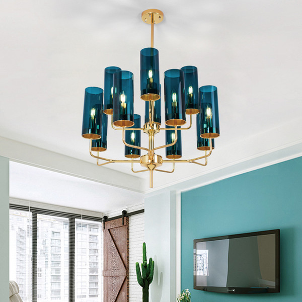 Post Modern Chandelier American Living Room Pendant Lamps Blue Gold Glass Chandeliers Simple Model Room Restaurant Chandelier Pendant Light