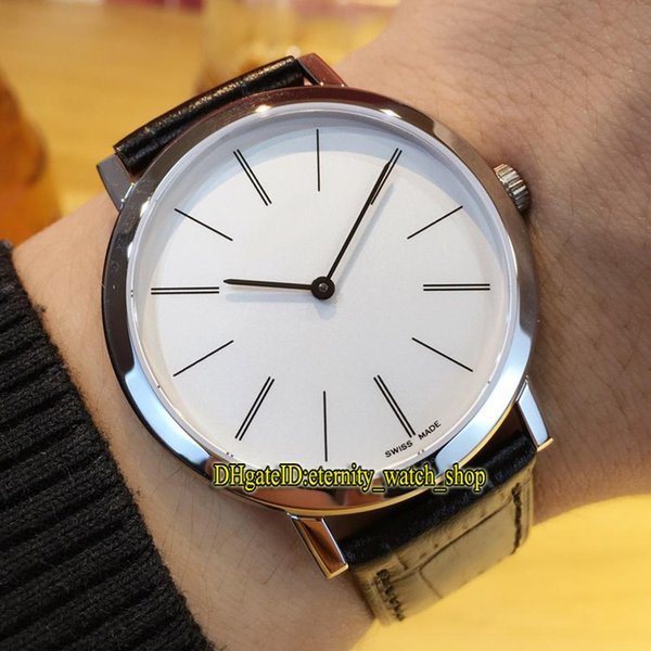 Luxury New ALTIPLANO G0A29112 White Dial Cal.430p Mechanical hand-winding Mens Watch Sapphire Glass Silvery Case Black Leather Strap Watches