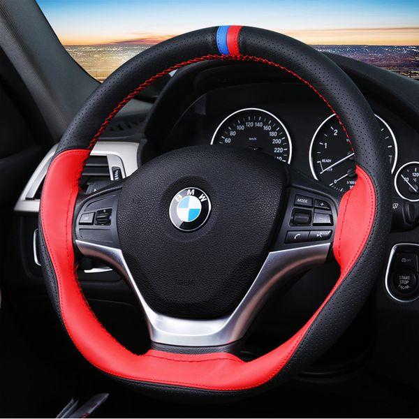 Estilo deportivo coser a mano bricolaje cuero coche volante cubierta suave rojo azul marcador coser 38 cm cubierta de la dirección para Volkswagen BMW Ford