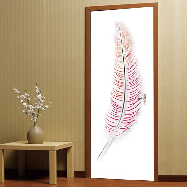 2Pcs/Set Large Size 3D Colored Feathers Wall Sticker Mural Quotes Bedroom Self-adhesive Door Stickers Home Decor