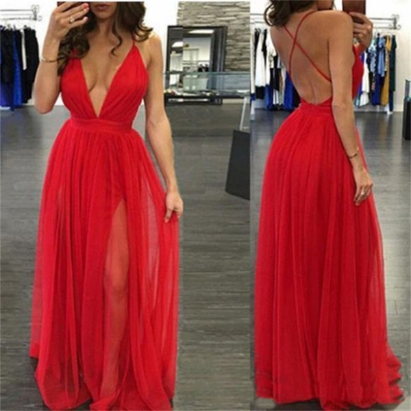 Deep V-Neck Evening Gowns Chiffon Formal Long A-Line Criss Cross Back Draped Split Prom Dress Party Gowns vestidos festa 2017