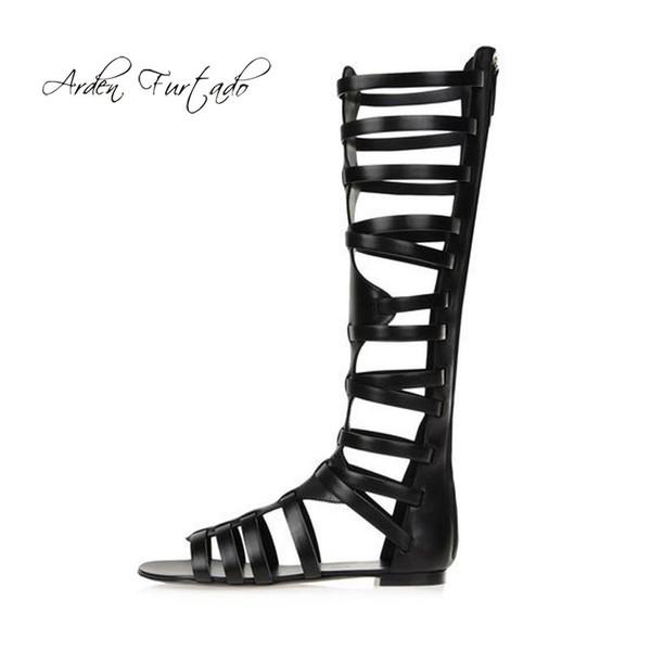 1ef01e425 2018 moda verão plana peep toe preto ocasional gladiador sandálias na  altura do joelho sapatos de