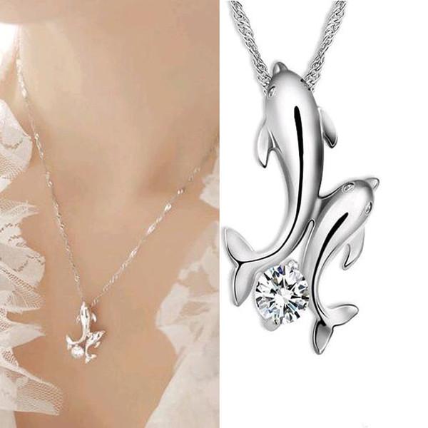 FAMSHIN lindo plateado doble delfín del rhinestone de cadena corta collar de joyería de moda de las mujeres al por mayor