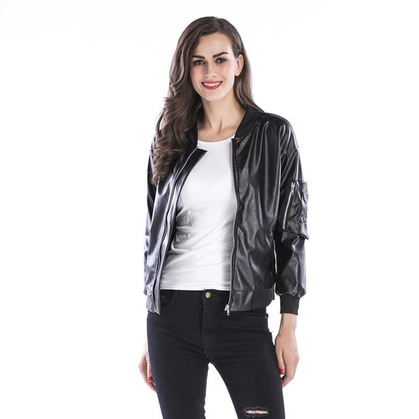2017 Faux Leather Jackets For Women Designer Jacket Leather Autumn Soft Coat Slim Black Zipper Motorcycle Jackets Plus Size Women Clothing