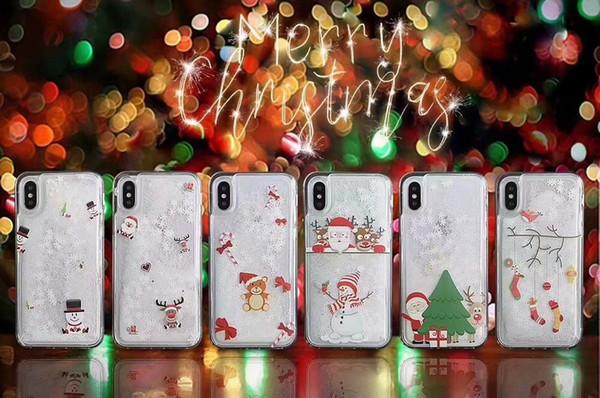 Merry Christmas Gift Quicksand Hard PC+Soft TPU Case For iphone XS MAX XR X 8 7 Plus 6 6S Liquid Santa Claus Tree Snow Snowman Skin Cover