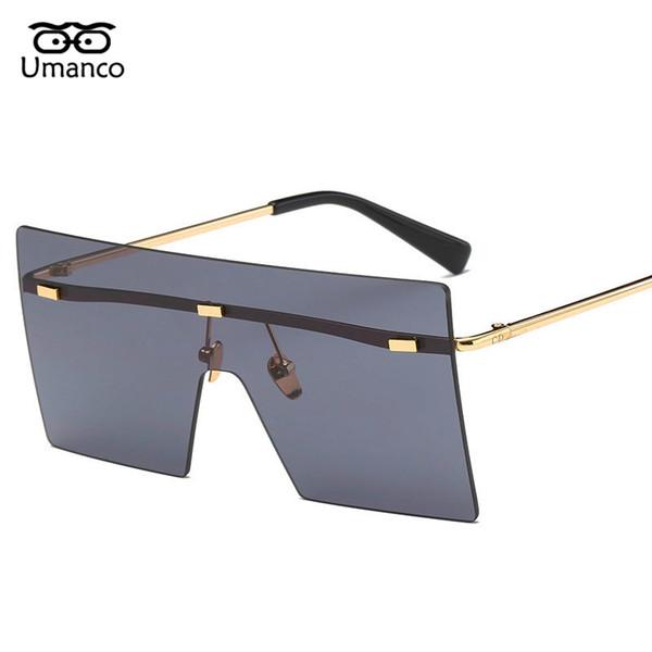 3dce3477539 Umanco Big Square Rimless Sunglasses Women Men Vintage Fashion Metal Sun  Glasses Female Oversized Shades Eyewear Male Goggles