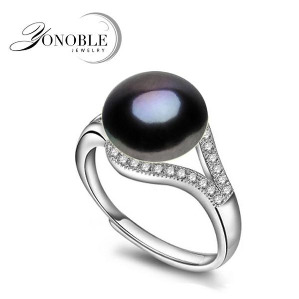 Anéis de pérolas naturais anéis de casamento de água doce Preto para As Mulheres anel ajustável 925 jóias de prata menina de noivado Presente de Aniversário