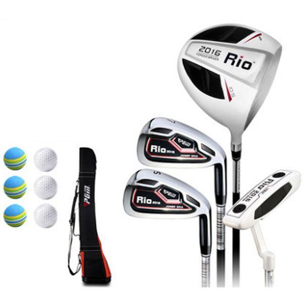 PGM 4 pcs Carbon Golf Clubs Men Rio Complete Sets Light durable Good elastic Wood #1 Iron #7 #SW PUTTER BAG Golf balls Male