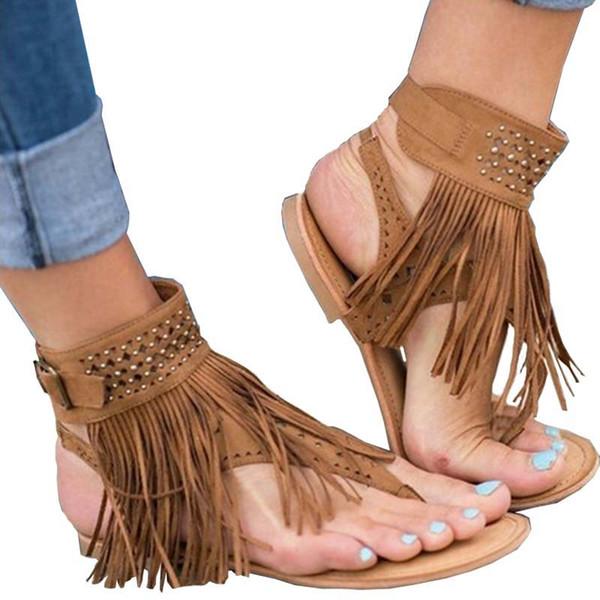 best selling sexy tassel fashion women sandals spring women summer shoes flat gladiator comfortable ladies shoes black beige #Y0618936Q