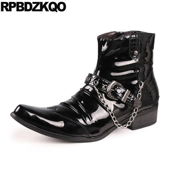 Punk Mens stivali in pelle verniciata nera punta metallica punta cerniera 2017 Partito breve caviglia scarpe da roccia Stivaletti confortevole maschile