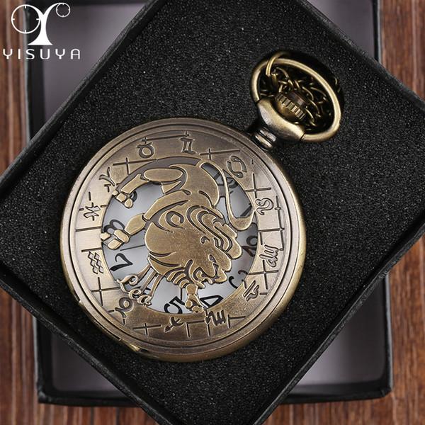 Venta al por mayor 2018 moda zodíaco Leo relojes de bolsillo con caja de regalo negro Vintage redondo caja de metal blanco collar cadena regalos de Navidad