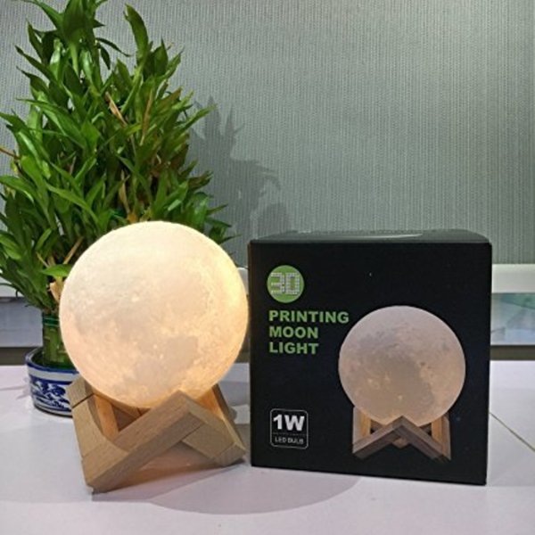 Authentic 5.9 Inch 3D Printed moon Light, Moon Lamp, Touch Control, USB Recharge , PLA material, Warm White & Warm Yellow