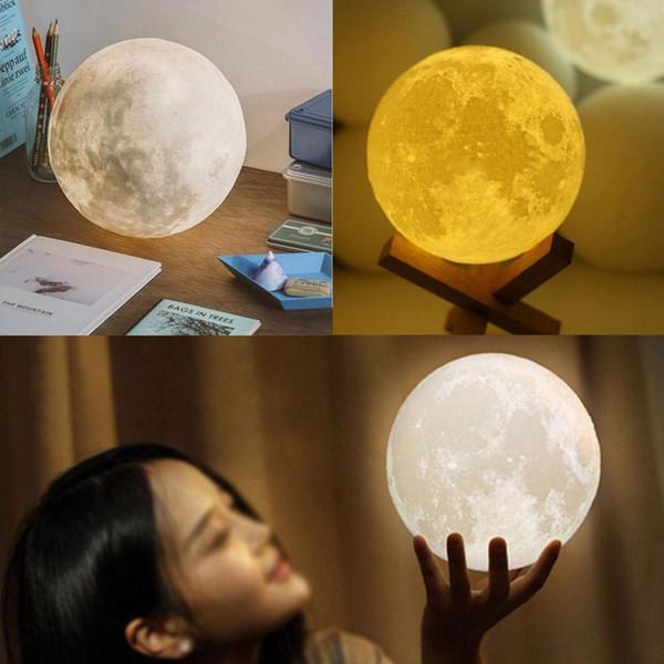 NOVO Recarregável 3D Impressão Moon Lamp Light 2 Mudança de Cor Interruptor de Toque Quarto Estante de Luz Portátil Home Decor Criativo
