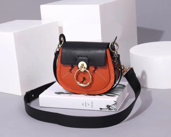 ladies bag for women fashion Frosted Cowhide Leather Shoulder Bag Pony embroidered Rivet Trendy Crossbody Bags Fashion Women Handbag