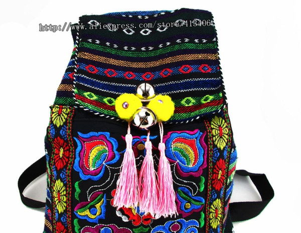 All'ingrosso-Tribal Vintage Hmong Tailandese indiano Ricamo etnico Boemia zaino Boho hippie borsa etnica zaino borsa taglia L SYS-170B