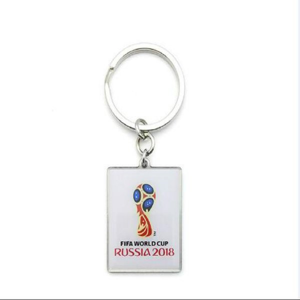 26*38mm 2018 Russia World Cup Football The Emblem of The World Cup Rectangular Key Buckle For Fans Carnival Decoration Key Chain Souvenir