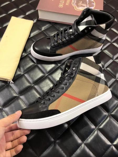 Marcas de luxo dos homens casual grade Clássico de alta-top sapatos e clássico de couro costura design de dois estilos, tornozelo quente e confortável