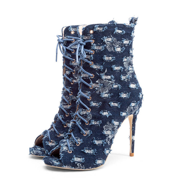 Summer Denim Woman Ankle Boots Party Club Peep Open Toe Lady 12cm High Heel Thin Stiletto Sexy Blue Lace Up Autumn Short Boots