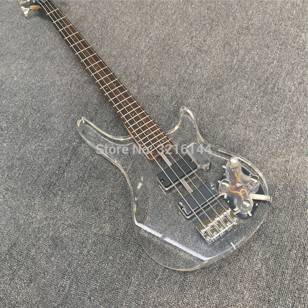 best selling 4 strings, bass. Crystal electric bass, 7 colour flashing LED lights, factory wholesale and retail
