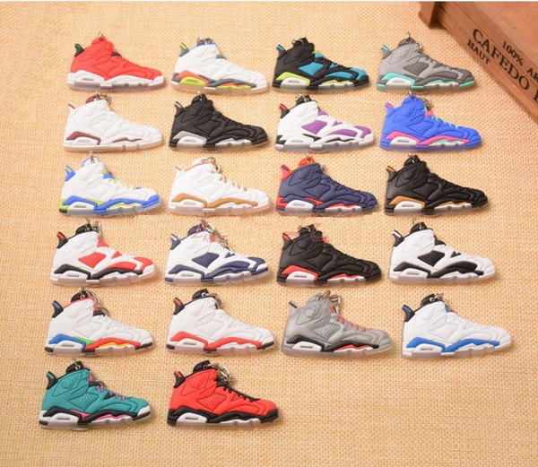 best selling 22 Styles Basketball Shoes Key Chain Rings Charm Sneakers Keyrings Keychains Hanging Accessories Novelty Sneakers free shipping