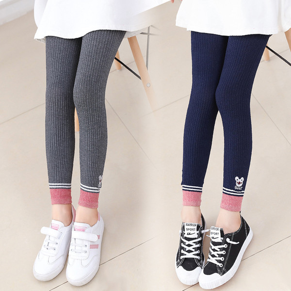 kids cartoon leggings cute animal bear embroidery Girls preppy style Tights soft child solid color tights pants