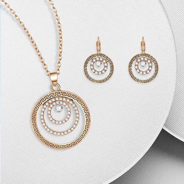 Multi-layer Ring Alloy Boucles D'oreilles Pendentif Collier Set Femmes Accessoires De Mode Simple
