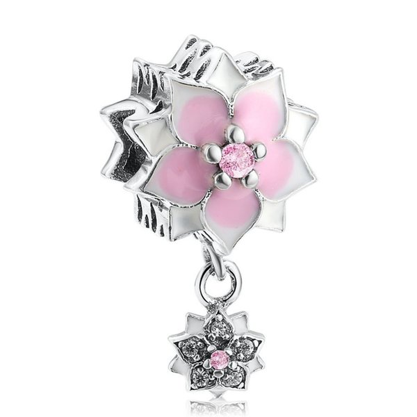 Fits Pandora Bracelets Enamel Magnolia Bloom Charms Beads Authentic 925 Sterling-Silver-Jewelry Crystal Pave Flower Bead DIY Accessories
