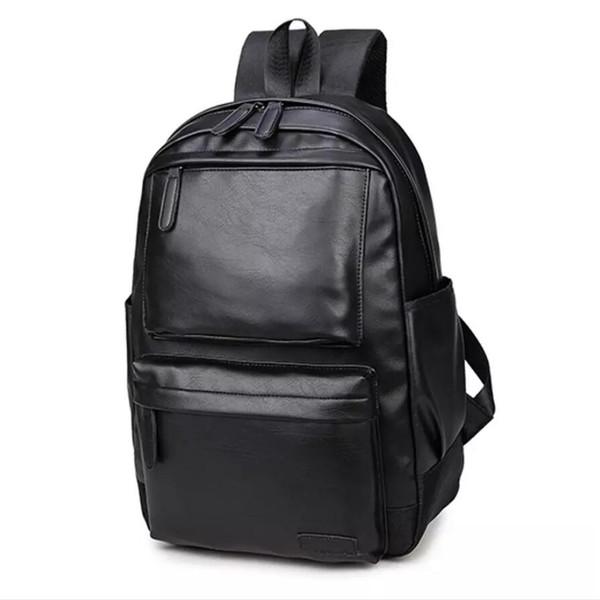 PU Deri Sırt Çantası YENI Pretty Stil Erkekler Siyah 15 inç Moda Erkek Rahat Erkek Okul Omuz çantaları erkek Sırt Çantası