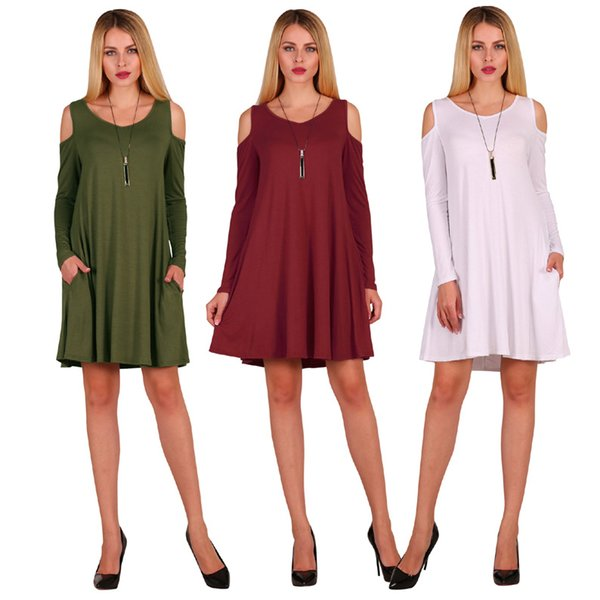 Autumn and winter women dress leaking shoulder designer plus size women clothing pocket loose casual night club dresses for womens
