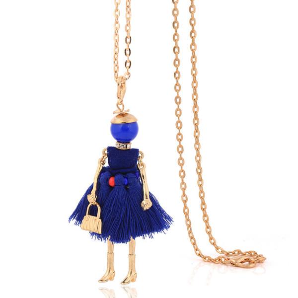 Fransız doll vintage kolye elbise püskül uzun kolye kadın mavi zincirler kolye kız moda takı sevimli bayanlar büyük gerdanlık