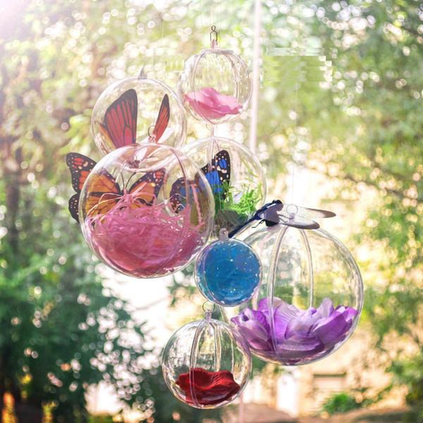 4CM Bola De Plástico 10 PCS Artesanato De Plástico Transparente Caixas De Presente De Natal Árvore de Natal Decor Bola Ornamento Tipo Caixa Transparente