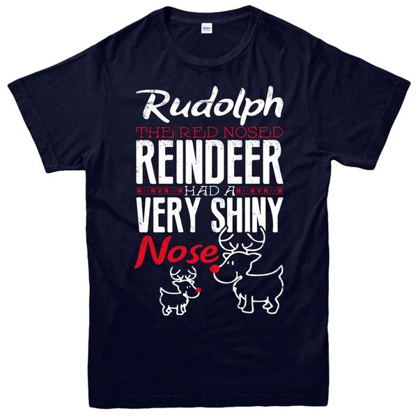 Rudolph Christmas T-Shirt, Red Nose Reindeer Xmas Festive Adult & Kids Tee Top Funny free shipping Unisex Casual tee gift