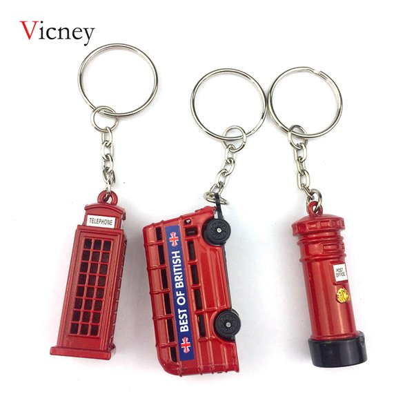 London Red Telephone Booth Bus Mail Box Taxi Big Ben Model Small Keychain Souvenir Gift Post office Box Key chain London Bus key