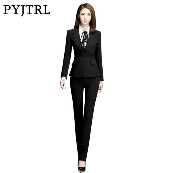 PYJTRL Herbst Elegante Büro Damen Uniform Designs Hosen Anzüge Formale Jacken Mit Hosen Weibliche Anzug Rote Hosenanzug