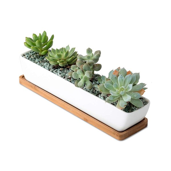 Classic Simple White Color Rectangular Ceramic Succulent Planter Tiny Flower Plant Container Pot with Bamboo Saucers for Home Office