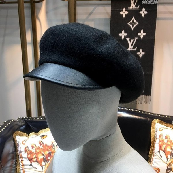 High End Women Men Cap Ladies Hats Counter Black Hat Wool Cashmere beret Hat With Box 3 Colors