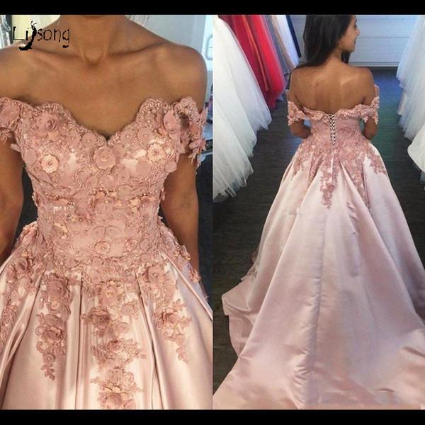 Blush Pink Evening Ball Dresses Exquisitos apliques Prom Maxi Dress Girl Graduation Pageant Quinceanera Dresses Vestido de alta calidad por encargo