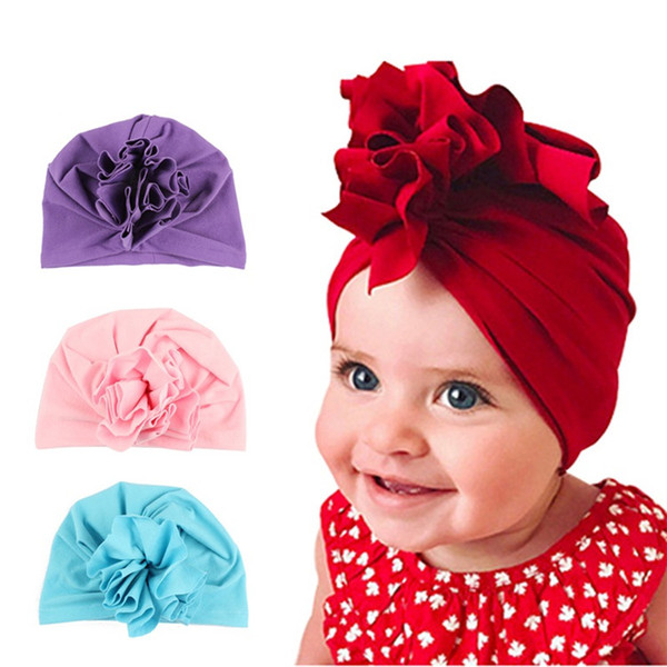 New Fashion Flower Baby Hats 2018 Newborn Elastic Baby Turban Hats for Girls 10 Colors Cotton Infant Beanie Cap 10 colors